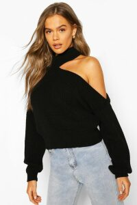 Womens Cut Out Knitted Jumper - Black - M, Black