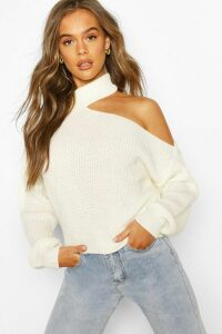 Womens Cut Out Knitted Jumper - White - S, White