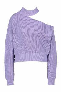 Womens Cut Out Knitted Jumper - Purple - L, Purple