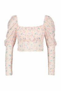 Womens Ditsy Floral Mesh Puff Sleeve Top - Pink - 14, Pink