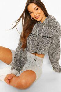 Womens Woman Embroidered Fleece Crop Hoodie - Grey - 16, Grey
