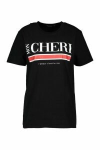 Womens Mon Cherie Slogan T-Shirt - Black - M, Black