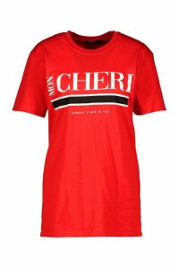 Womens Mon Cherie Slogan T-Shirt - Red - Xl, Red