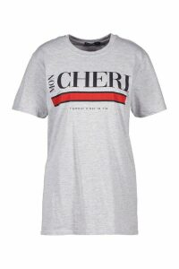 Womens Mon Cherie Slogan T-Shirt - Grey - M, Grey