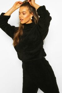 Womens Funnel Neck Top With Side Vents In Teddy Fleece - Black - M, Black