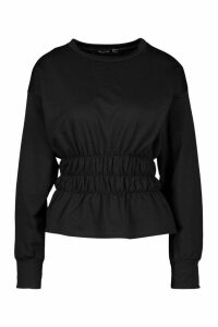 Womens Deep Shirred Waist Sweat Top - Black - 14, Black