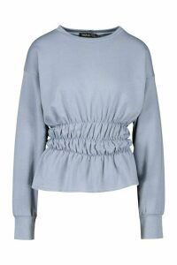 Womens Deep Shirred Waist Sweat Top - Blue - 14, Blue