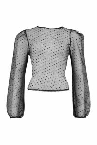Womens Dobby Mesh Puff Sleeve Top - Black - 8, Black