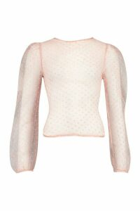 Womens Dobby Mesh Puff Sleeve Top - Pink - 14, Pink