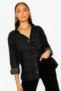 Womens Oversized Chambray Shirt - Black - 16, Black