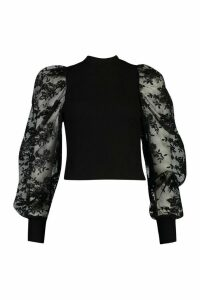Womens Embroided Sleeve Top - Black - M, Black