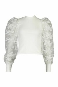 Womens Embroided Sleeve Top - White - Xs, White