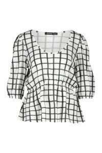 Womens Check Ruched Waist Top - White - 14, White