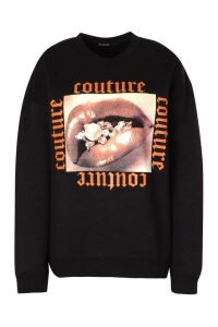 Womens Couture Print Slogan Sweatshirt - Black - M, Black