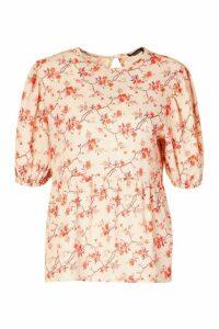 Womens Floral Puff Sleeve Woven Smock Top - Beige - 14, Beige