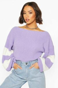 Womens Balloon Sleeve Stripe Jumper - Purple - M/L, Purple