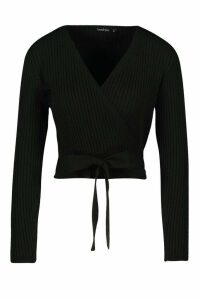 Womens Wrap Tie Rib Knit Cropped Cardigan - Black - M, Black