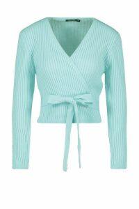 Womens Wrap Tie Rib Knit Cropped Cardigan - Blue - M, Blue