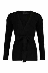Womens Wrapped Rib Knit Cardigan - Black - M, Black