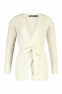 Womens Wrapped Rib Knit Cardigan - White - M, White