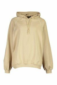 Womens Piping Detail Oversized Hoody - Beige - M, Beige