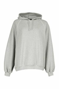 Womens Piping Detail Oversized Hoody - Grey - M, Grey