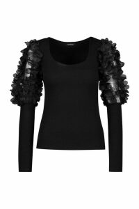 Womens Applique Organza Square Neck Top - Black - 6, Black