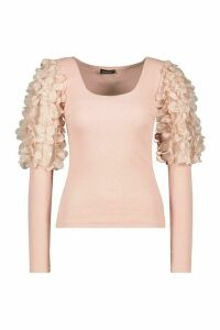 Womens Applique Organza Square Neck Top - Pink - 6, Pink