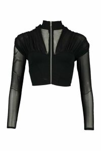 Womens Zip Front Roll/Polo Neck Top With Mesh Sleeves - Black - 14, Black