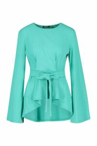 Womens Flare Sleeve Jumbo Rib Peplum Long Sleeve Top - Green - 12, Green