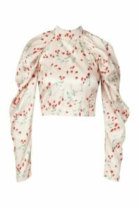 Womens Floral Satin Puff Sleeve Blouse - Pink - 14, Pink