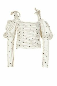 Womens Satin Polka Dot Puff Sleeve Top - White - 12, White