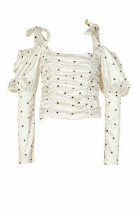 Womens Satin Polka Dot Puff Sleeve Top - White - 16, White