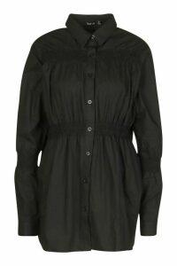 Womens Cotton Shirring Detail Shirt - Black - 16, Black