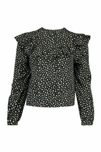 Womens Smudge Polka Dot Ruffle Detail Open Back Blouse - Black - 12, Black