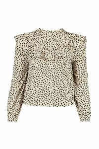 Womens Smudge Polka Dot Ruffle Detail Open Back Blouse - Beige - 8, Beige