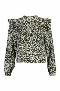 Womens Leopard Print Ruffle Detail Open Back Blouse - Black - 6, Black