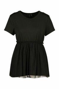 Womens Dobby Mesh Peplum T Shirt - Black - 12, Black