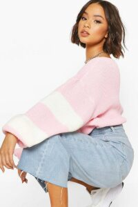 Womens Balloon Sleeve Stripe Jumper - Pink - M/L, Pink