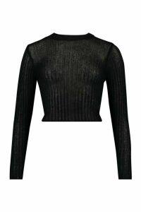 Womens Ruffle Hem Rib Knit Top - Black - 16, Black