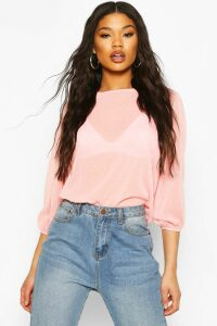 Womens Dobby Spot Batwing Top - Pink - 14, Pink