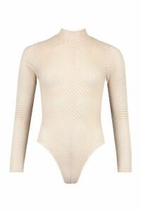 Womens Roll/Polo Neck Chevron Body - Beige - 10, Beige