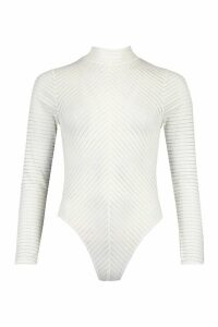 Womens Roll/Polo Neck Chevron Body - White - 14, White
