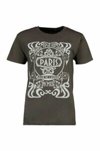 Womens Paris Graphic Printed T-Shirt - Grey - M, Grey
