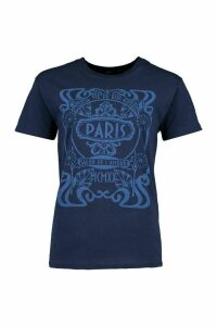 Womens Paris Graphic Printed T-Shirt - Navy - M, Navy