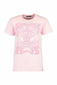 Womens Paris Graphic Printed T-Shirt - Pink - M, Pink