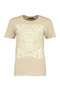 Womens Paris Graphic Printed T-Shirt - Beige - M, Beige