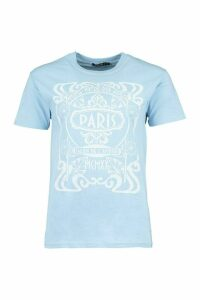 Womens Paris Graphic Printed T-Shirt - Blue - M, Blue