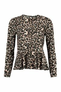 Womens Leopard Frill Hem Smock Top - Brown - 14, Brown