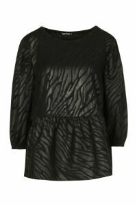 Womens Animal Jaquard Puff Ball Sleeve Smock Top - Black - 16, Black